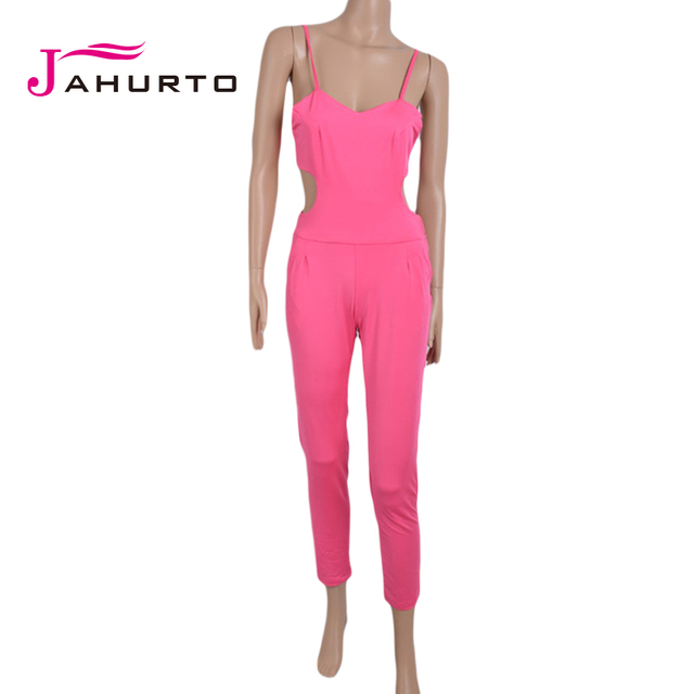 Jahurto Women Rompers Sexy Bandage Jumpsuit 2016 Summer V-neck Sleeveless Women Jumpsuit Long Pants