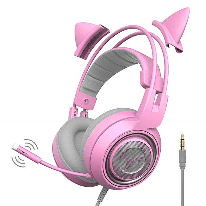 SOMIC G951S casque de jeu rose avec Microphone pour téléphones ordinateur PC PS4 Xbox One Gamer chat oreille casque cadeau pour femmes enfants