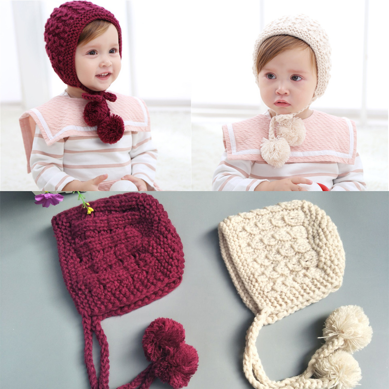 Winter Childrens Hat Solid Color Handmade Wool Baby Knit Lace-proof Ear CapsWinter Childrens Hat Solid Color Handmade Wool Baby Knit Lace-proof Ear Caps