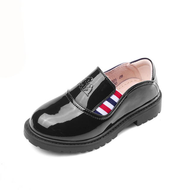 Children shoes child leather male female child patent leather Moccasins 2017 spring and autumn single shoes black casual shoes