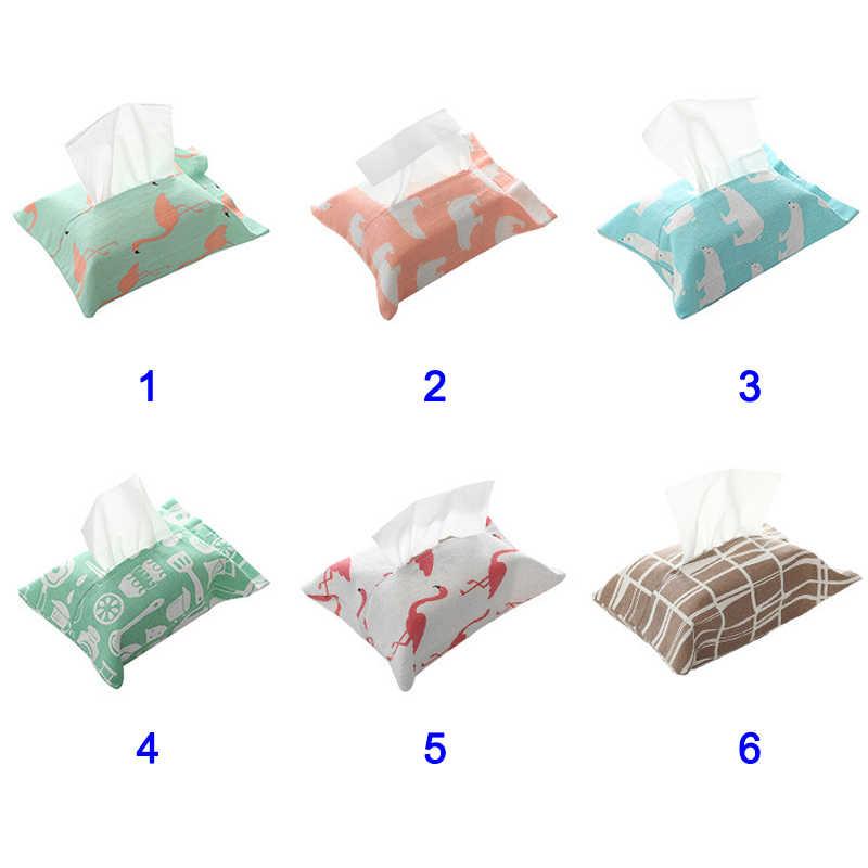Caixa de Tecido de linho Flamingo Padrão Urso Casa Capa Bag Suporte Do Guardanapo de Papel Caixas de Tecido 2019