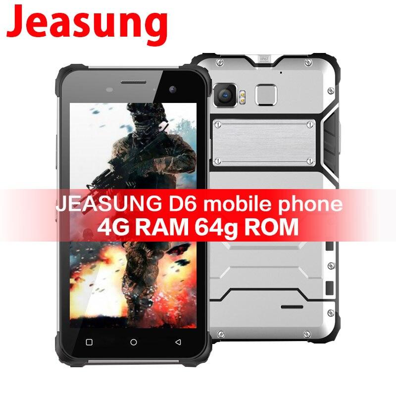 JEASUNG D6 Telefono Cellulare Robusto IP68 Octa Core Android 6.0 Impermeabile 4g LTE Antiurto 4g di RAM 64g ROM 13MP NFC di Impronte Digitali Magnetico OEM