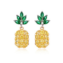 Fashion Lovely Ear Jewelry Hip Hop Acrylic Fruit Drop Earrings For Women Female Rhinestone Interesting