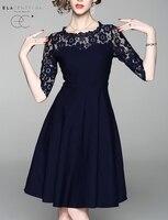 ElaCentelha Women Dress 2018 Office Lady Lace A Line Half Sleeve Knee Length O Neck Summer