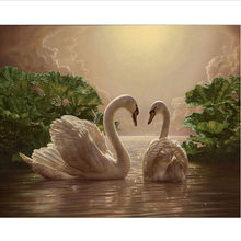 40x50cm framed digital oil painting by numbers diy home decoration paint on canvas unique gift craft picture swan G275(China)