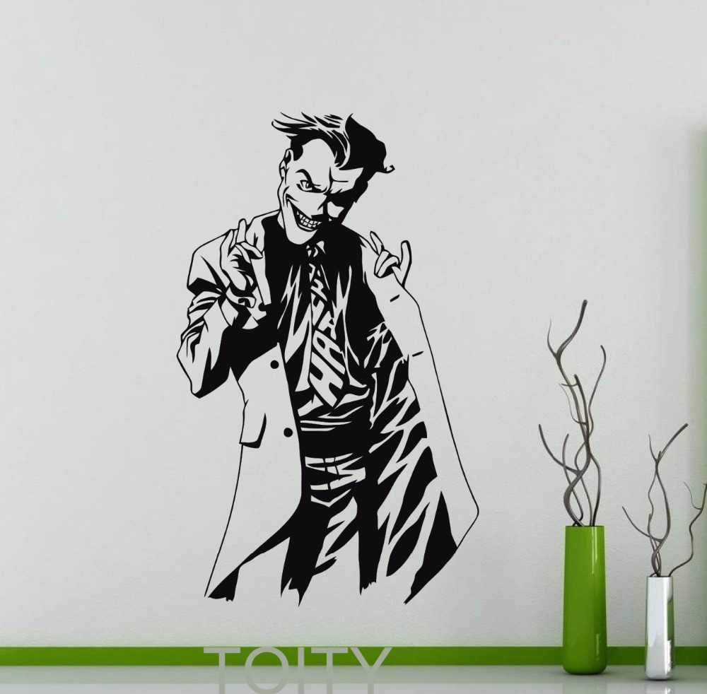 Bike stickers design joker - Cartoon Joker Poster Black Wall Decal Dc Marvel Comics Superhero Sticker Vinyl Dorm Club Home Interior