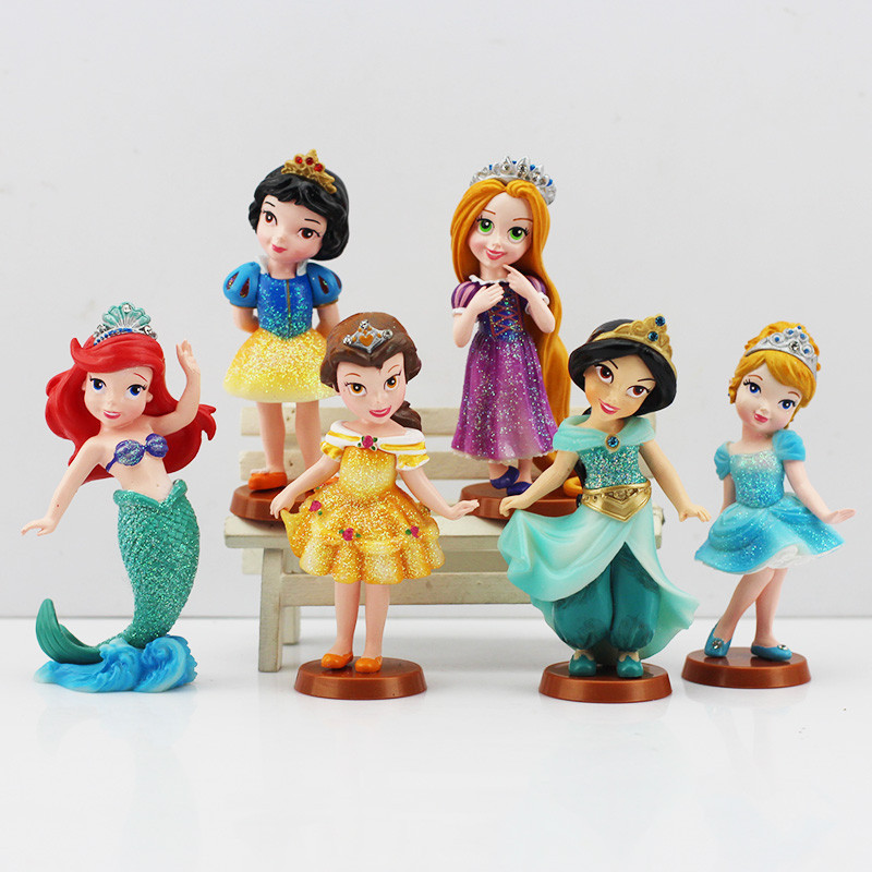 6Pcs/<font><b>set</b></font> <font><b>Princess</b></font> <font><b>PVC</b></font> <font><b>Cinderella</b></font> <font><b>Snow</b></font> <font><b>White</b></font> <font><b>Rapunzel</b></font> Jasmine Thinkbell Bella Ariel action Figure Dolls For Girl robot minion