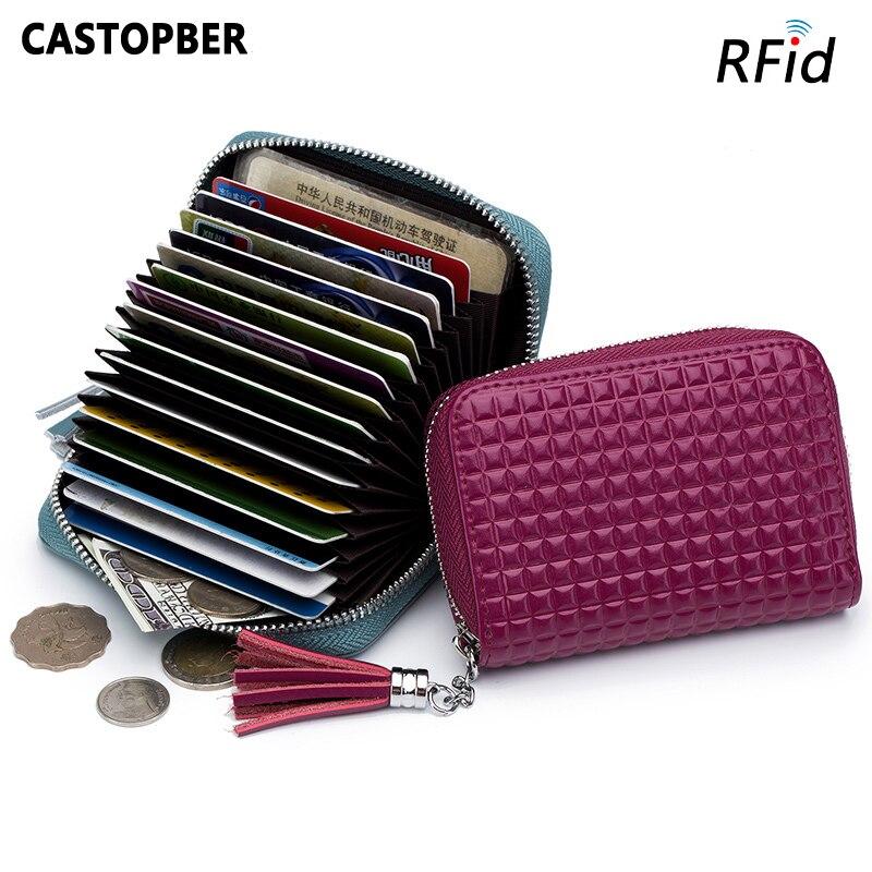 Leather Tassel Purse Women Fashion Plaid RFID Card Holders Credit ID Card Case Split Leather Clutch High Quality Ladies Wallet
