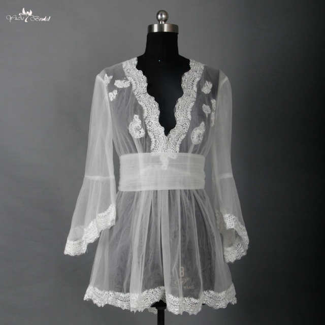 RSJ5 Mature Women Ivory Sheer Mesh Long Night Robe Wedding Sexy Nightwear  Bridal Tulle Bolero 3ca2fb23d