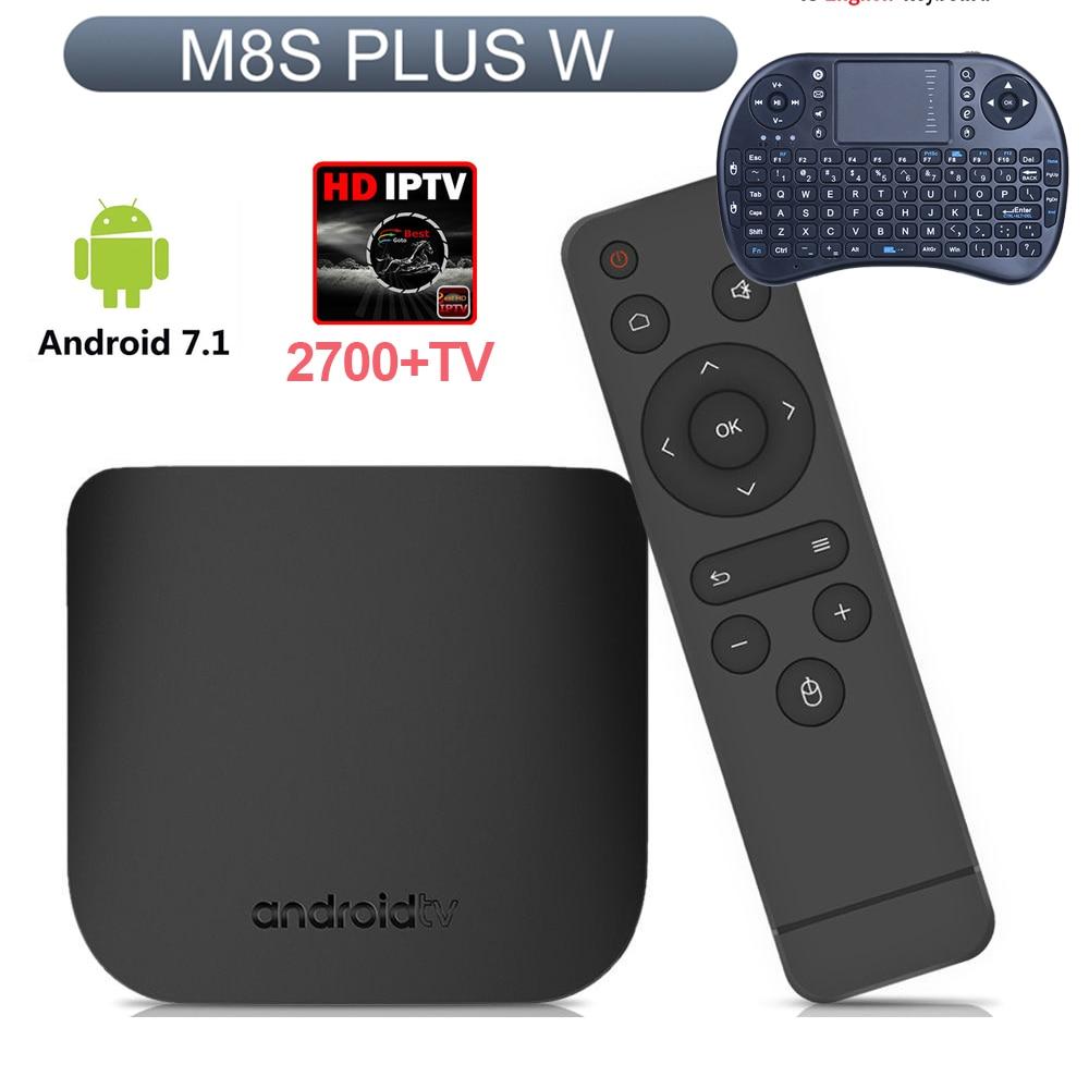 M8S PLUS W Adroid 7.1 2 GB 16 GB Amlogic S905 2.4G WiFi 4 K, h.265 set top TV BOX Soutien Espagne/Français/Italie IPTV 2700 + TV pk X96
