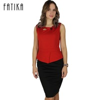 FATIKA Women 2017 New Arrival Print Floral Solid Patchwork Button Casual Work Sleeveless Bodycon Summer Office