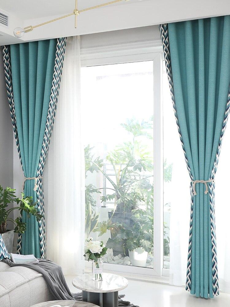 Sur mesure français fenêtre rideau couverture Dressing Ins vague européenne géométrique 2 m x 2.6 m 2 pièces lac bleu kaki gris