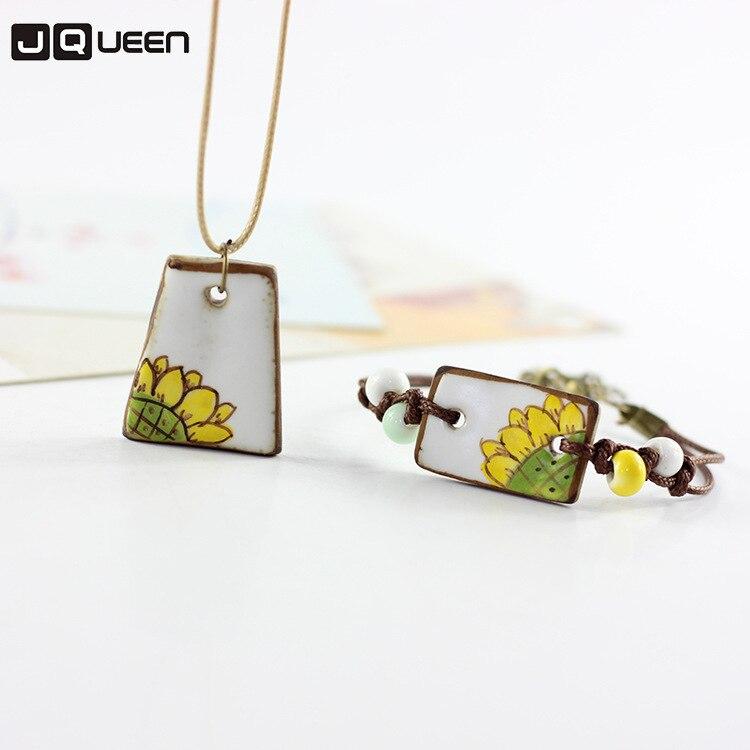 Ceramic Bracelet Necklace Set Women Sunflower Watermelon Design Bracelet Necklace Jewelry Set Female Simple Sweet Accessories
