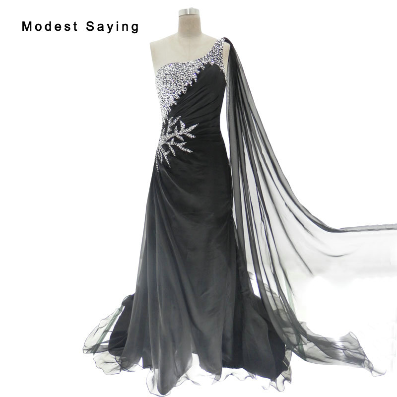 Sexy Black Mermaid One Shoulder Beaded   Evening     Dresses   2017 with Ribbons Formal Women Long Party Prom Gowns robe de soiree YE4