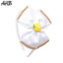 AHB New Solid 5 Big Bow Hairband for Girls Hair Bows Summer Fruit Resin Rhinestones Ribbon Headband Accessories