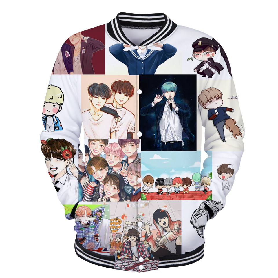 BTS Jackets 3D Print Casual Men/women Jacket Coats Big Size 4XL Collage Style Baseball Jackets Winter Fashion