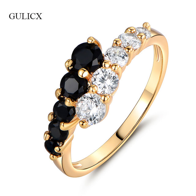 GULICX Fashion Engagement Rings For women Gold-color Mid Ring Black White Crysta