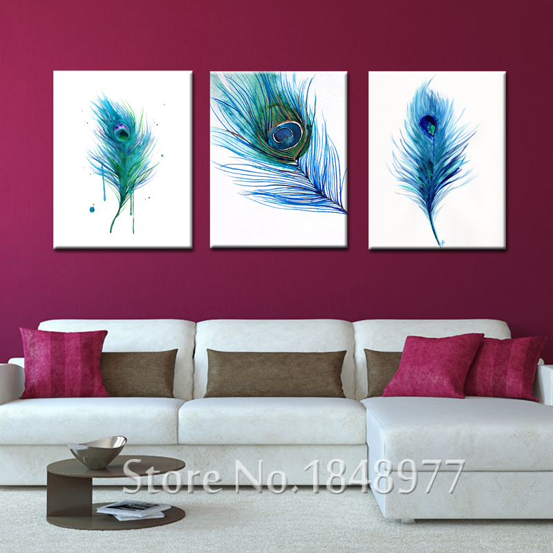 3 Panels Modern Wall Art Peacock Feather Picture Canvas ...