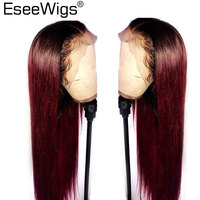 Eseewigs Silky Straight 99j Lace Front Wig With Baby Hair Pre Plucked Hair Line Brazilian Remy Hair Ombre Colored Wigs For Women