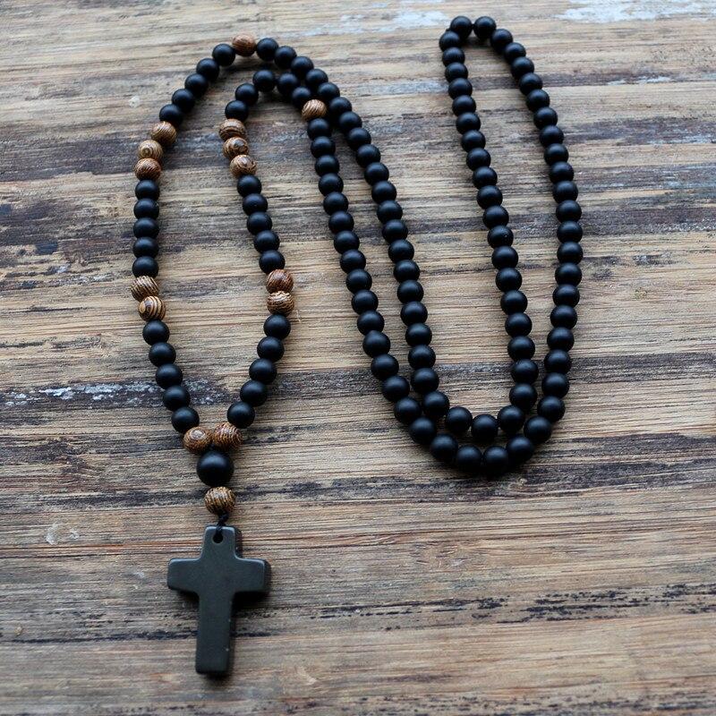 6 MM Schwarz stein Holz Perlen mit schwarzem stein kreuz Anhänger Herren Rosenkranz Halskette Herren Mala schmuck