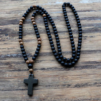 FANCY SCANDAL Quality Natural 6MM Black Stone Wood Beads With Black Agate Cross Pendant Mens Rosary
