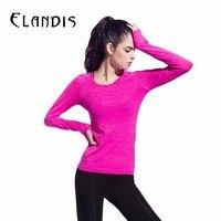 FLANDIS Sport T-shirt Femmes Manches Longues Chemise De Yoga Gym Remise En Forme Étanche Col Rond de Course Tops Jogging Chemise