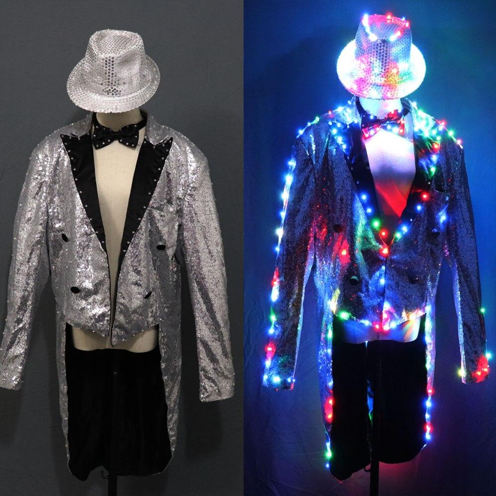 Мода ласточкин хвост светодиодный смокинг светящиеся костюмы vestidos Одежда со светодиодами шоу Мужчины светодиодный одежда танцевальные ак