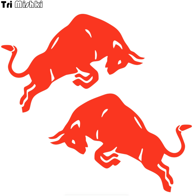 Tri Mishki HZX830# 15*10cm Jumping Bull Cow Red Car Sticker Vinyl Decals Motorcycle Accessories Sticker Reflective