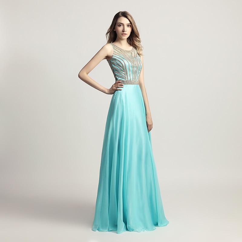 2019 Gaun Prom Pakaian Aqua Cantik dengan Petang Chiffon Romantik - Gaun acara khas - Foto 6