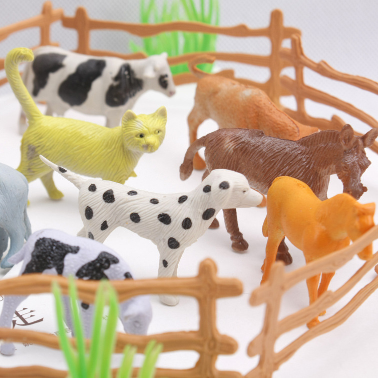 15pcs pack Farm Animals Toys 2 quot Animal cow dog sheep goose Family Farm Poultry Feed Fence Simulation Model toy for Children in Action amp Toy Figures from Toys amp Hobbies