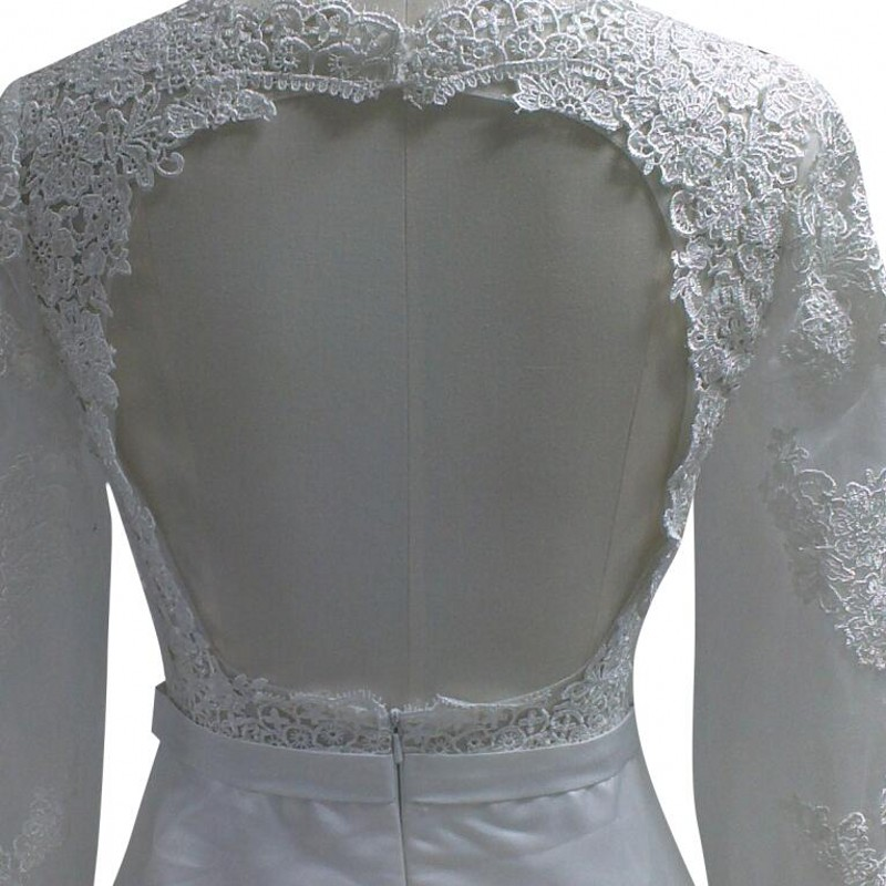 Special Design Long Sleeve Bride Dress Vintage Open Back Applique ...