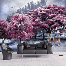Customized wallpaper beautiful pink forest tree elk landscape background wall painting high-grade waterproof material