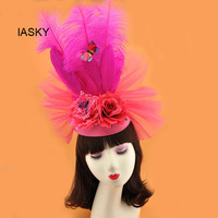 2019 Spring Wedding Women Feather Butterfly Fascinator Fashion Photo Shoot Church Party Ladies Large Headwear Flower Hair Clip