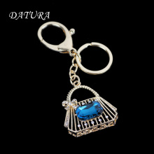 Fashion rhinestone bule  bag  keychain  pendant quality chic Car key chain ring holder Jewelry  for women.