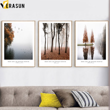 Lake Forest Tree Bird Fog Landscape Nordic Posters And Prints Wall Art Canvas Painting Pictures For Living Room Home Decor
