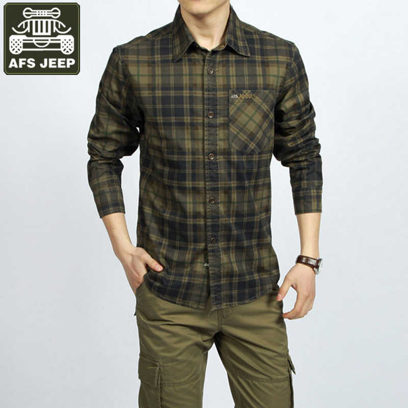 AFS JEEP Marke Männer T-shirt Army Military Plaid 100% baumwolle Langarm Shirts Plus Größe 3XL Camisa Masculina Casual Shirts