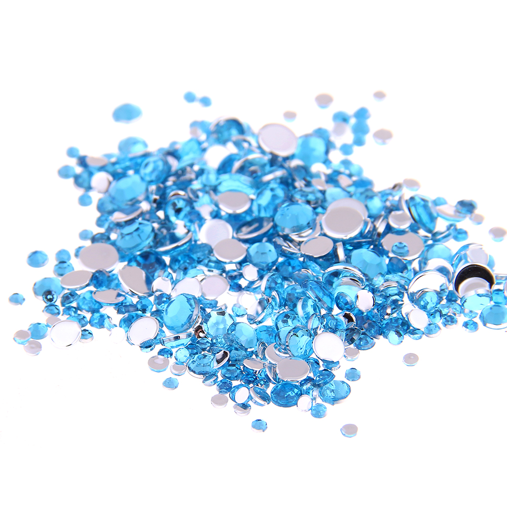 Smart Color Aquamarine Color Acrylic Rhinestones Shoes Sparkling Nail Art Decorations Cl ...