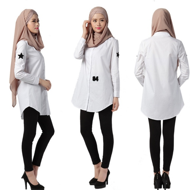 Verão camisa branca mulheres muçulmanas longo camisas turco islâmico moda árabe Kaftan