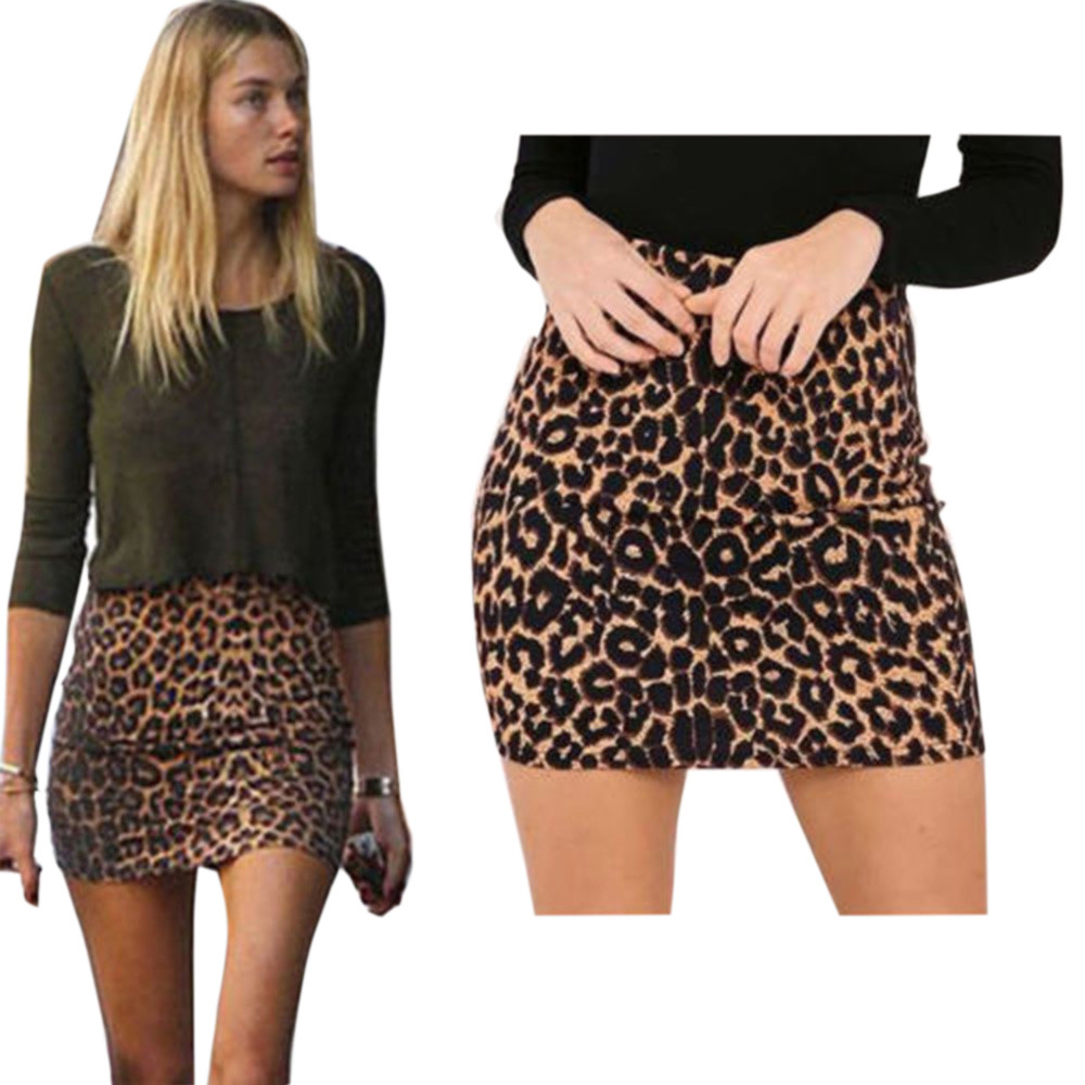 2019 Women's Leopard Printed Skirt High Waist <font><b>Sexy</b></font> Pencil Bodycon <font><b>Hip</b></font> Mini Skirt Fits All Seasons Casual,Daily For Ladies image