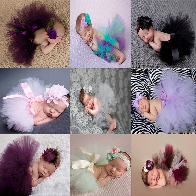 Baby Newborn Photography Props Girl Skirt Bowknot Baby Tutu Skirt Tulle Baby Photo Props Flower Headband Cap Fotografia Crochet newborn baby girl clothes set 3pcs kid party my first christmas cotton bodysuit sequin bowknot tulle tutu skirt headband outfit page 1