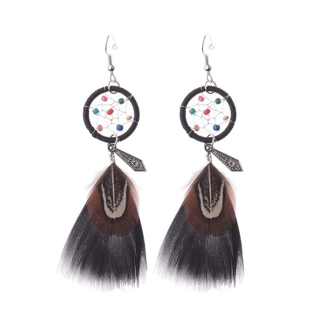 Dreamcatcher Earrings For Women Jewelry Gift Checking Dream Catcher  With Natural Stone Feathers Earrings Decoration