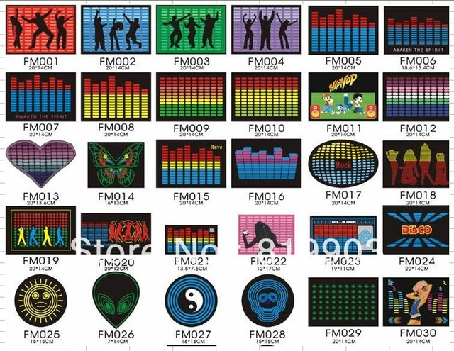 MOQ 1PCS Pub Party products Sound Control   LED T-Shirt EL Panel  whosale mix-lots is available
