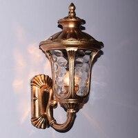 European Vintage Black Aluminum Villa Waterproof Outdoor Wall Sconce Lamp American Retro Garden Glass E27 LED
