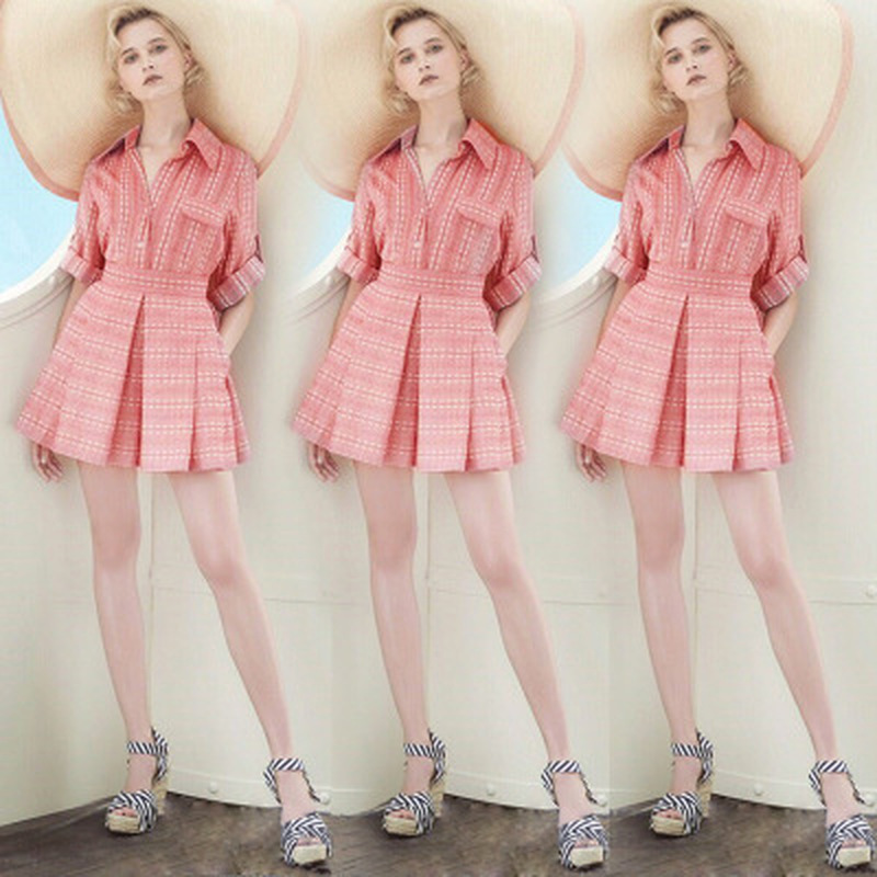2019 New Summer Women Two Piece Outfits Office Lady Lapel Elastic Waist Short Sleeves Single Breasted Mini Pink Two Piece Sets