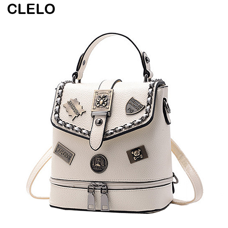 CLELO New Vintage Fashion Rivet Mini Small Backpack Women Letter Pu leather Travel Bag Female Shoulder Bags Ladies Backpacks 2016 fashion women backpacks rivet soft sheepskin leather bags shoulder for teenage girls female travel bag free gift