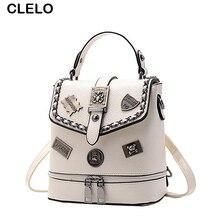 Clelo Новый Винтаж модные заклепки мини маленький рюкзак Для женщин Письмо ПУ кожа сумка женская Сумки на плечо дамы Рюкзаки