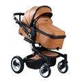Nova Europeu Luxuoso Do Bebê Carrinho De Criança Carrinhos De Alta Vista Folding two-way absorção De Choque carrinho de Bebê de inverno de couro Genuíno