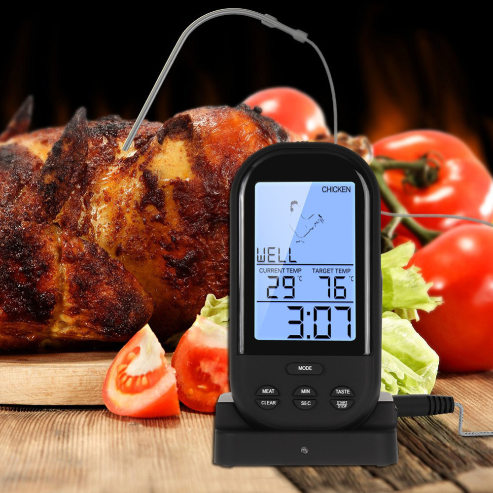 Digital Wireless Remote Kitchen Oven Food Cooking BBQ Grill Smoker Meat Thermometer With Probe and Timer