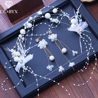 CC серьги для женщин hairbands Комплекты из 3 предметов Свадебные аксессуары Свадебные Обручальное ювелирные изделия Фея ручной бусы жемчуг XY243