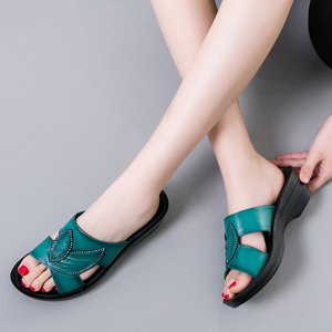 Image 2 - GKTINOO Women Slippers Shoes Genuine Leather Casual Slides Women Summer Shoes Retro Solid Mother Shoes Wedges Flip Flops